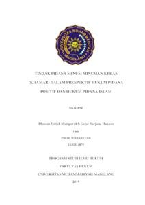 Tindak Pidana Minum Minuman Keras Khamar Dalam Prespektif Hukum Pidana Positif Dan Hukum Pidana Islam Kim Lib Ummgl
